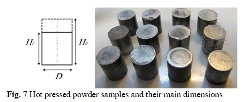Fig. 7 Hot pressed powder samples and their main dimensions -آلیاژ-تیتانیوم-تیتانیوم-